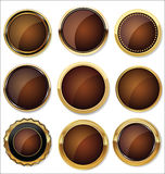 Vector Badges of Gold and black Seal Set Stock Photography