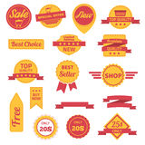 Vector badges labels, stickers and ribbons. Set. Vector illustration Royalty Free Stock Photos