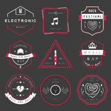 Vector Badges Rock, Rap, Classical and Disco Music Royalty Free Stock Photography