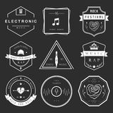 Vector Badges Rock, Rap, Classical and Disco Music. Vector badges rock music, rap, classical and electronic music. Vector logos festivals and concerts, elements Royalty Free Illustration