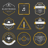 Vector Badges Rock, Rap, Classical and Disco Music Royalty Free Stock Images