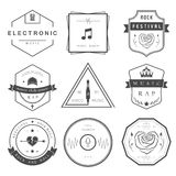 Vector Badges Rock, Rap, Classical and Disco Music. Vector badges rock music, rap, classical and electronic music. Vector logos festivals and concerts, elements Stock Illustration
