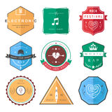 Vector Badges Rock, Rap, Classical and Disco Music Stock Photos