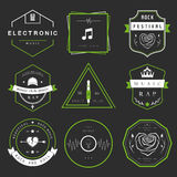 Vector Badges Rock, Rap, Classical and Disco Music. Vector badges rock music, rap, classical and electronic music. Vector logos festivals and concerts, elements Vector Illustration