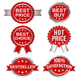 Vector Badges Set 1 (Silver). Vector Badges in Red & Silver for business Stock Image