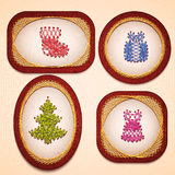 Vector badges with some Christmas elements Royalty Free Stock Images