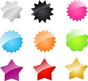 Vector badges and stars for your design. Set of multicolored web badges and stars Royalty Free Stock Photos
