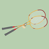 Vector badminton set. Classic wooden racquets rackets and a shuttlecock. Stock Photo