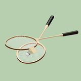 Vector badminton set. Classic wooden racquets rackets and a shuttlecock. Stock Images