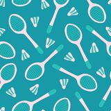 Vector badminton sports equipment seamless pattern background for fabric, wallpaper, scrapbooking projects. royalty free stock photography