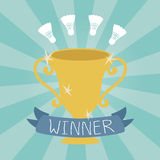 Vector badmiton winner cup flat icon Stock Photo