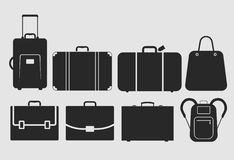 Vector bag icons set. Suitcase, bag icons set, vector illustration, fully editable, you can change form and color Stock Photos
