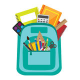 Vector bag with school stationery Royalty Free Stock Image