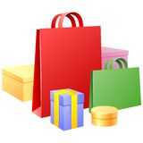 Vector bags and gift wrappings Stock Photos