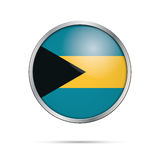Vector Bahaman flag button. Bahamas flag in glass button style. Royalty Free Stock Image