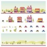 Vector baixas 2d construções polis e cena da cidade ilustração royalty free