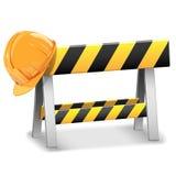 Vector bajo barrera de la construcción con el casco Imagenes de archivo