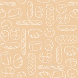 Vector. Bake, Bread mix seamless background. Good for packaging, wrapping paper or other accessories for bakery. Beige and white p Stock Photography