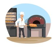 Vector bakery and baker baking flat design. Bakery and baker at work baking bread. Vector flat design of bakehouse and baker man with baked pizza on spatula at royalty free illustration