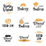 Vector Bakery, dessert shop or bakehouse logo set, tag or label design. Text and symbols on white background. Home baking logotype. Lettering phrase royalty free illustration
