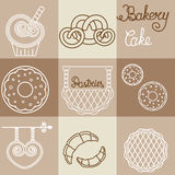 Vector bakery logos and icons in outline style. For design of packing bread products royalty free illustration
