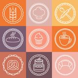 Vector bakery and pastry emblems and icons Royalty Free Stock Photo
