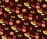 Vector of Bakery Pattern with Chocolate Background Stock Image