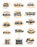 Bakery products with pastry lettering. Vector bakery products and bread with pastry food silhouettes and lettering. Bakehouse and bagel, grain and baguette vector illustration