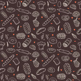 Vector bakery seamless pattern. Hand drawn collection. Backgroun Royalty Free Stock Photos