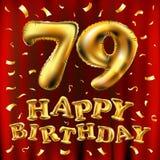 Vector balões do ouro da celebração do feliz aniversario 79.o e brilhos dourados dos confetes projeto da ilustração 3d para seu c Imagem de Stock