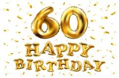 Vector balões do ouro da celebração do feliz aniversario 60th e brilhos dourados dos confetes projeto da ilustração 3d para seu c Imagem de Stock