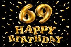 Vector balões do ouro da celebração do feliz aniversario 69th e brilhos dourados dos confetes projeto da ilustração 3d para seu c Ilustração Royalty Free