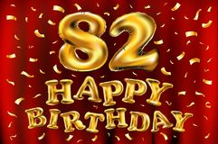 Vector balões do ouro da celebração do feliz aniversario 82th e brilhos dourados dos confetes projeto da ilustração 3d para seu c Imagens de Stock