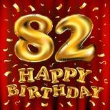 Vector balões do ouro da celebração do feliz aniversario 82th e brilhos dourados dos confetes projeto da ilustração 3d para seu c Fotografia de Stock Royalty Free
