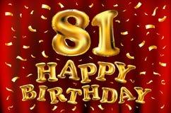 Vector balões do ouro da celebração do feliz aniversario 81th e brilhos dourados dos confetes projeto da ilustração 3d para seu c Imagem de Stock