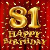 Vector balões do ouro da celebração do feliz aniversario 81th e brilhos dourados dos confetes projeto da ilustração 3d para seu c Fotos de Stock Royalty Free