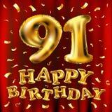 Vector balões do ouro da celebração do feliz aniversario 91th e brilhos dourados dos confetes projeto da ilustração 3d para seu c Ilustração Stock