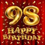 Vector balões do ouro da celebração do feliz aniversario 98th e brilhos dourados dos confetes projeto da ilustração 3d para seu c Ilustração Stock