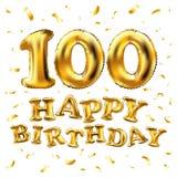 Vector balões do ouro da celebração do feliz aniversario 100th e brilhos dourados dos confetes projeto da ilustração 3d para seu  ilustração do vetor