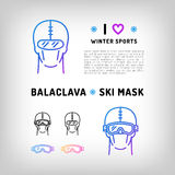 Vector balaclava  icon, ski mask, snowboard equipment. Winter sports Royalty Free Stock Photography