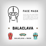Vector balaclava isolated icon. Winter sport face mask, Robber mask Royalty Free Stock Photography