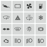 Vector balck car dashboard icons set Stock Images