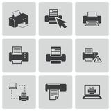 Vector balck printer icons set Stock Photo