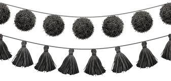 Vector Balck and White Tribal Pom Poms and Tassels Set On A String Horizontal Seamless Repeat Border Pattern. Great for Stock Photos