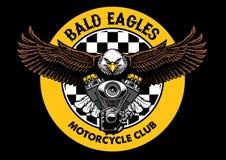 Bald eagle badge grip the motorcycle engine. Vector of bald eagle badge grip the motorcycle engine stock illustration