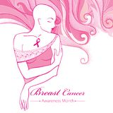 Vector bald woman after chemotherapy with pink ribbon on the background with dotted pink swirls. Breast Cancer Awareness Month. Royalty Free Stock Photography