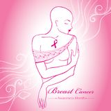 Vector bald woman after chemotherapy with pink ribbon on the pink background with dotted swirls. Breast Cancer Awareness Month. Stock Photography