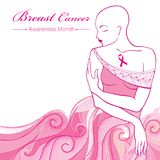 Vector bald woman after chemotherapy with pink ribbon on the background with dotted pink swirls. Breast Cancer Awareness Month. Stock Image