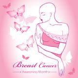 Vector bald woman after chemotherapy with ribbon on the pink background with dotted butterflies. Breast Cancer Awareness Month. Royalty Free Stock Photo