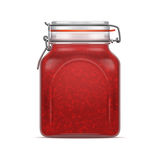 Vector Bale Square Glass Jar with Swing Top Lid filled with berry jam. Vector Realistic illustration Royalty Free Stock Photo